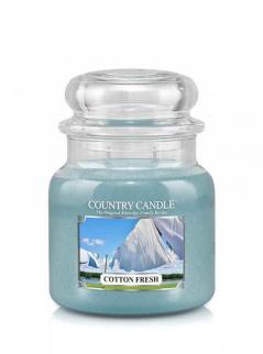 Country candle - cotton fresh -  średni słoik (453g) 2 knoty