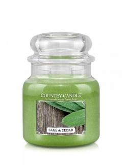 Country candle - sage and cedar - średni słoik (453g) 2 knoty