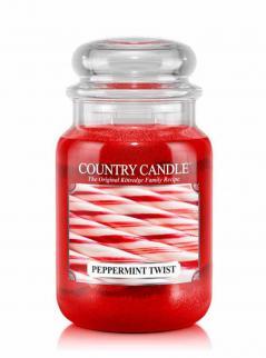 Country candle - peppermint twist - duży słoik (652g) 2 knoty