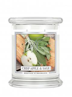 Kringle candle - crisp apple & sage - średni, klasyczny słoik (411g) z 2 knotami