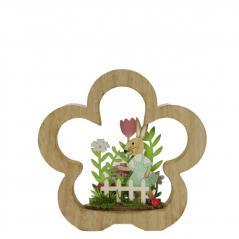 Home decor - drewniane króliczki różowy stand- figurka(17cmx17cmx2cm)
