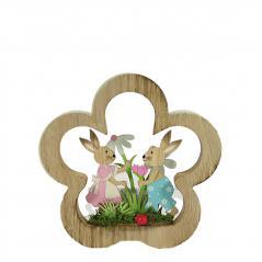 Home decor - drewniane króliczki zielony stand- figurka(17cmx17cmx2cm)