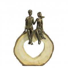 Home decor - para z brązu  na podstawie w ksztalcie serca - figurka(20cmx28cmx6cm)