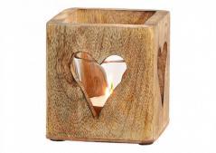 Home decor -  drewniane serce z drewna mango  - świecznik (9cmx9cm)
