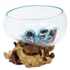 Home decor - duza szklana waza wtopiona w drewno