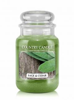 Country candle - sage and cedar - duży słoik (652g) 2 knoty