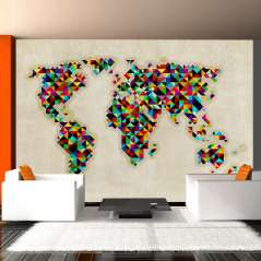 Fototapeta World Map - a kaleidoscope of colors